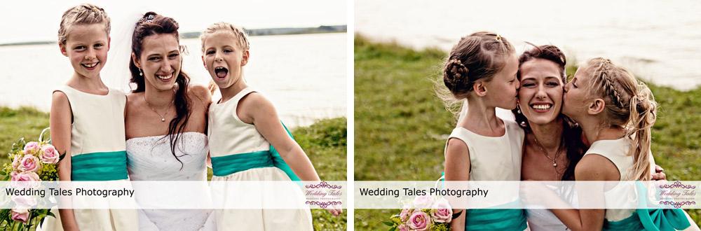 Hochzeitsreportage Insel Falkenstein Rangsdorf bei Berlin, Hochzeitsfotograf Berlin, Porträt Braut und Blumenmädchen